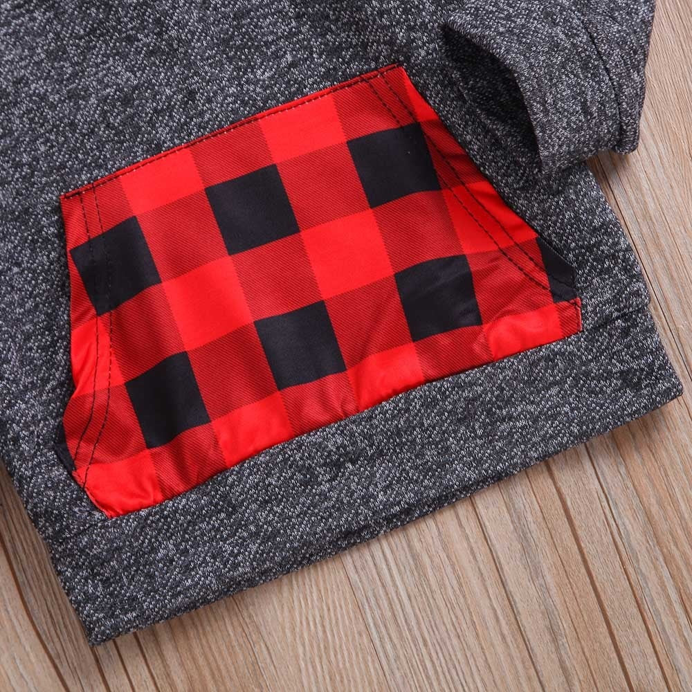 Plaid Hooded Long Sleeve Sweater