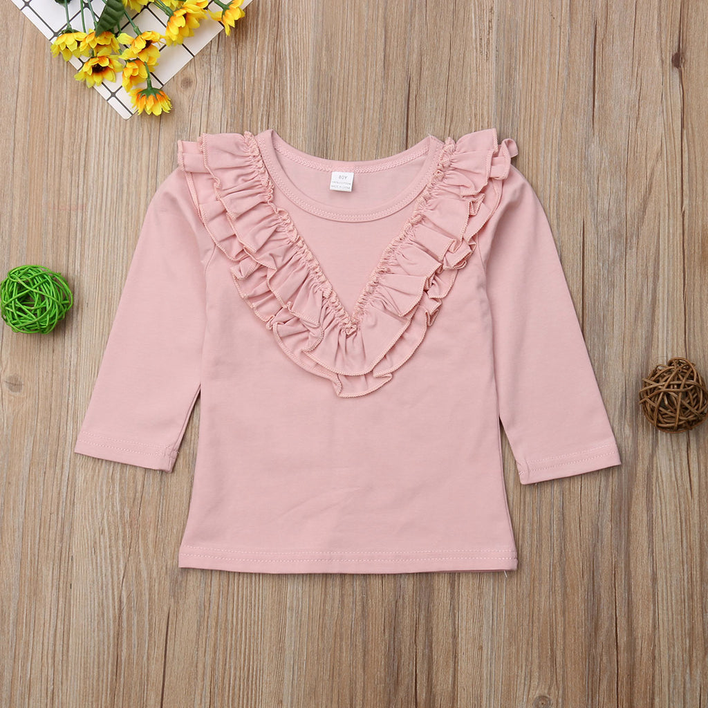 Basic Ruffle Long Sleeve Blouse Top