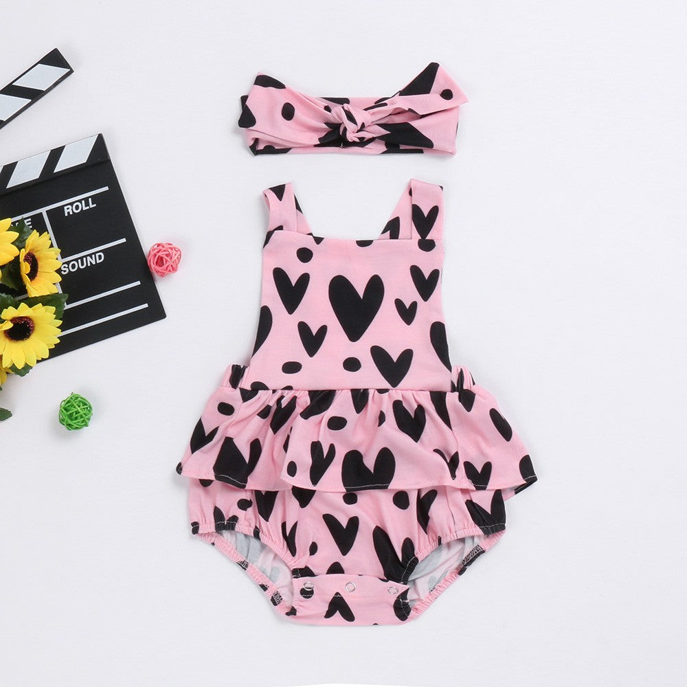 The Pink Love Layered Romper With Matching Headband - Rompers - baby-petite