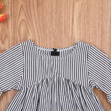 Black & White Striped Bell Sleeve Long Blouse Top