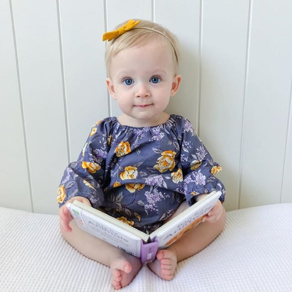 Midnight Cerulean Floral Romper With Matching Headband - Rompers - baby-petite