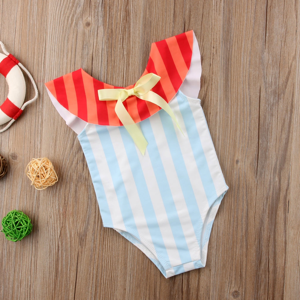 Seaside Ribbon Striped Swimsuit - Swimsuits - baby-petite