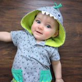 The Neon Dino Monster Hooded Romper Costume - Tops - baby-petite