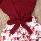 Crimson Floral Lace Back Romper - Rompers - baby-petite
