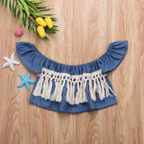 Summer Denim Tassel Off Shoulder Top