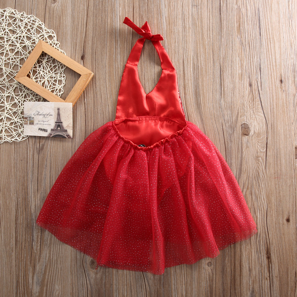 Rogue Red Sequin Halter Neck Tulle Dress - Dresses - baby-petite