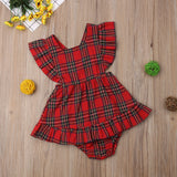Penny Plaid Cross Back Red Dress - Dresses - baby-petite