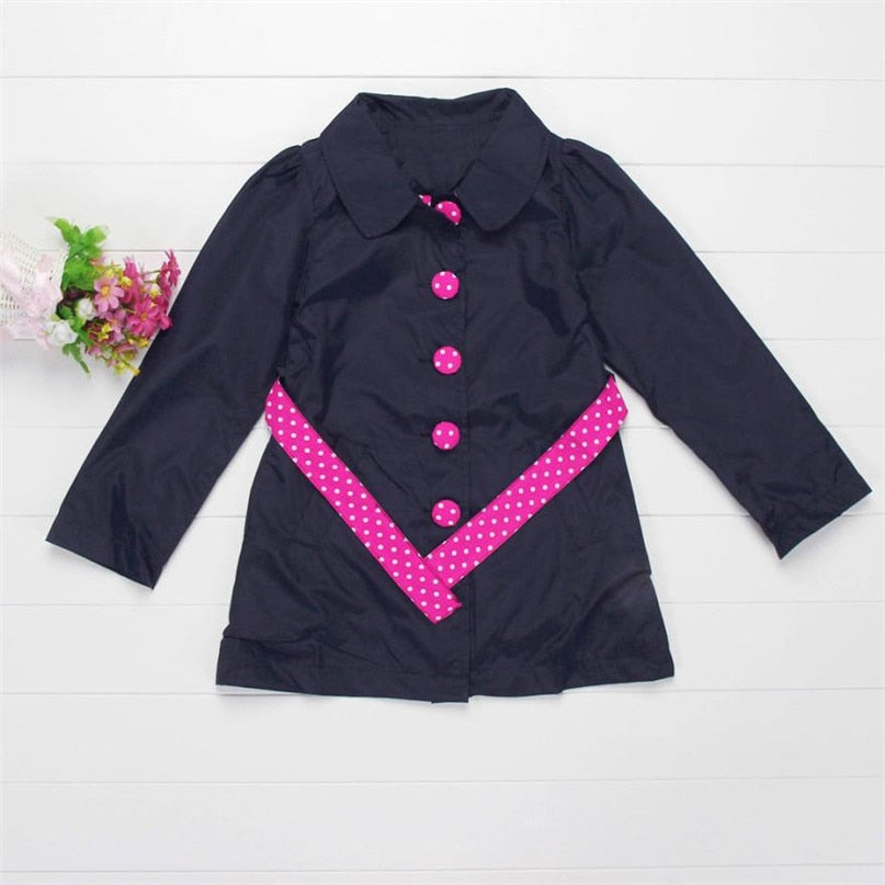 Pink Polka Dot Button Down Winter Coat