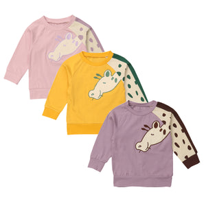 Cute Giraffe Printed Sleeve Warm Sweater