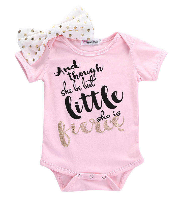 Little But Fierce Bow Knot Romper - Rompers - baby-petite