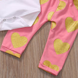 Daddy's Other Chick Gold Hearts T-Shirt and Long pants Set - Clothing Sets - baby-petite
