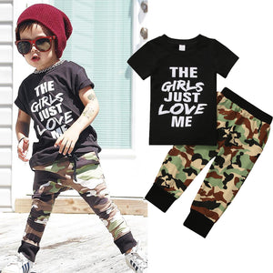 The Girls Just Love Me Camouflage T-Shirt and Long Pants Set - Baby Petite - Clothing Sets