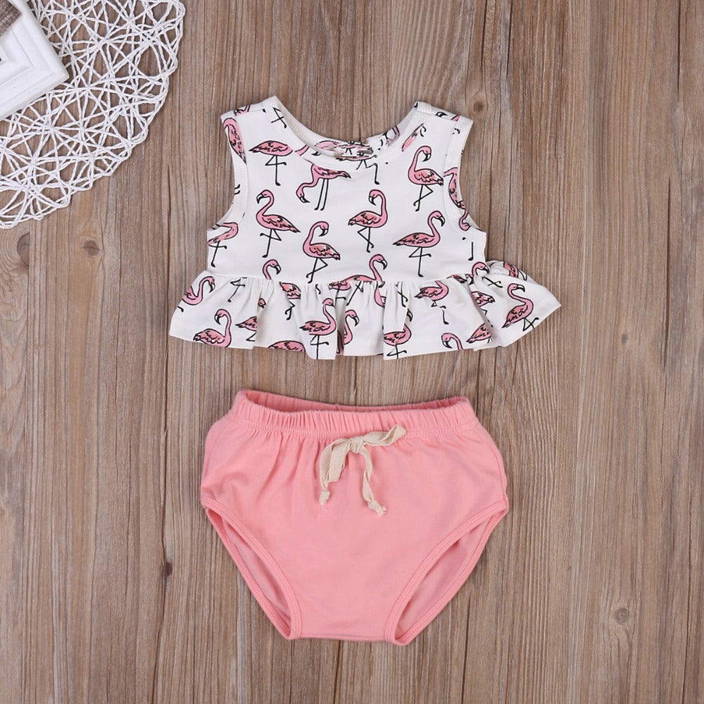 Pink Standing Flamingo Top and Shorts Set - Clothing Sets - baby-petite