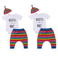 Rainbow Striped Worth The Wait Clothing Set (3 Piece Set)