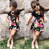Artsy Floral Basic Black Top and Skirt Set - Clothing Sets - baby-petite