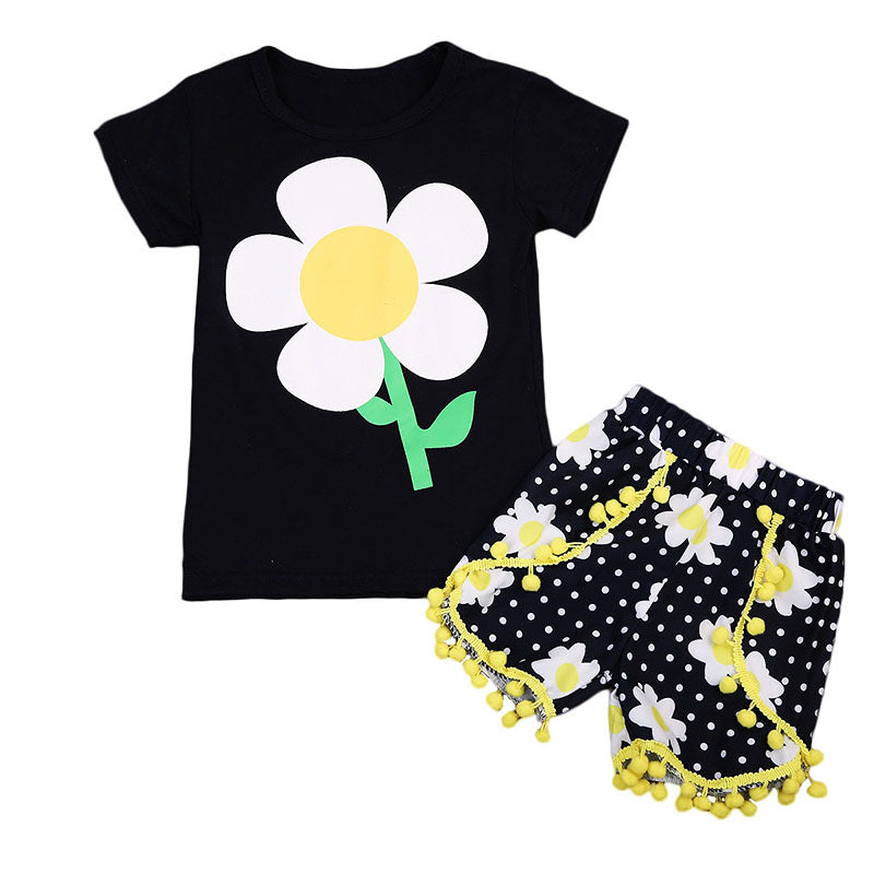 Happy Sunflower T-Shirt and Short Pants Set - Clothing Sets - baby-petite