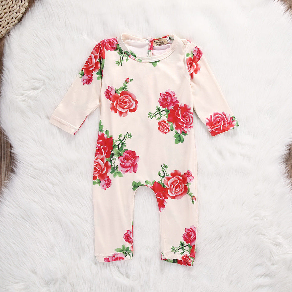 Peachy Roses Long Sleeve Romper - Rompers - baby-petite