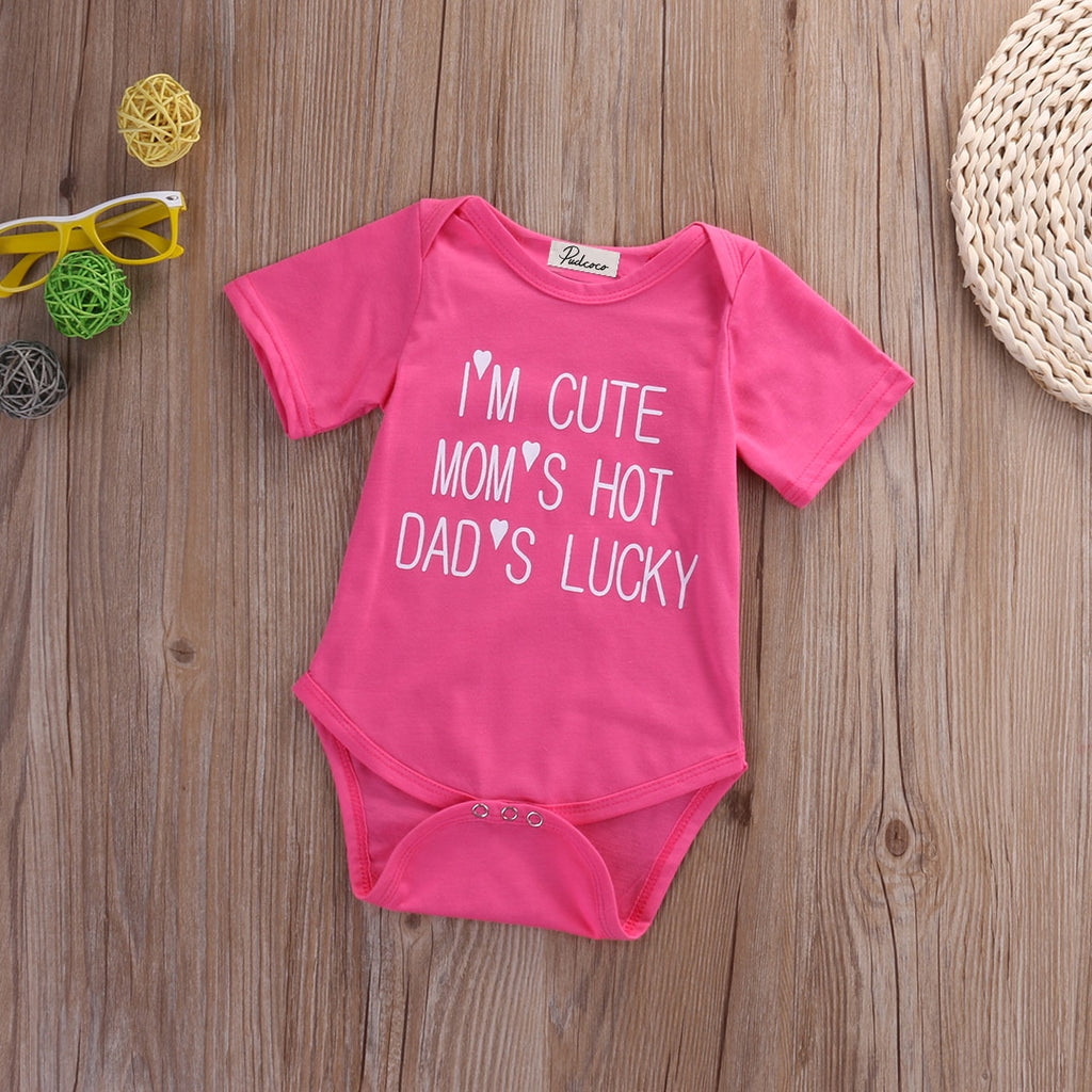 Mom's Hot Dad's Lucky Basic Romper