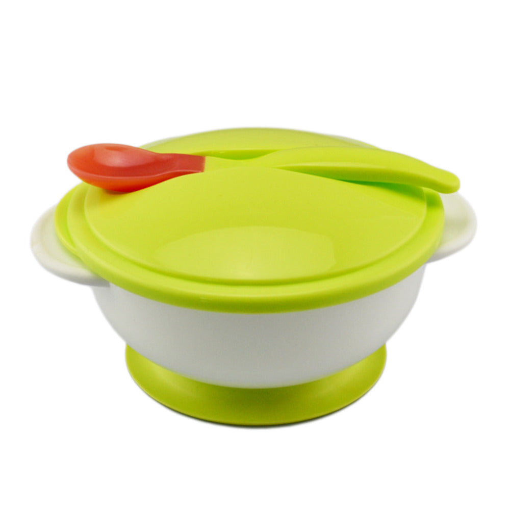 Green Non-Slip Bowl With Lid and Spoon Set - Tableware - baby-petite