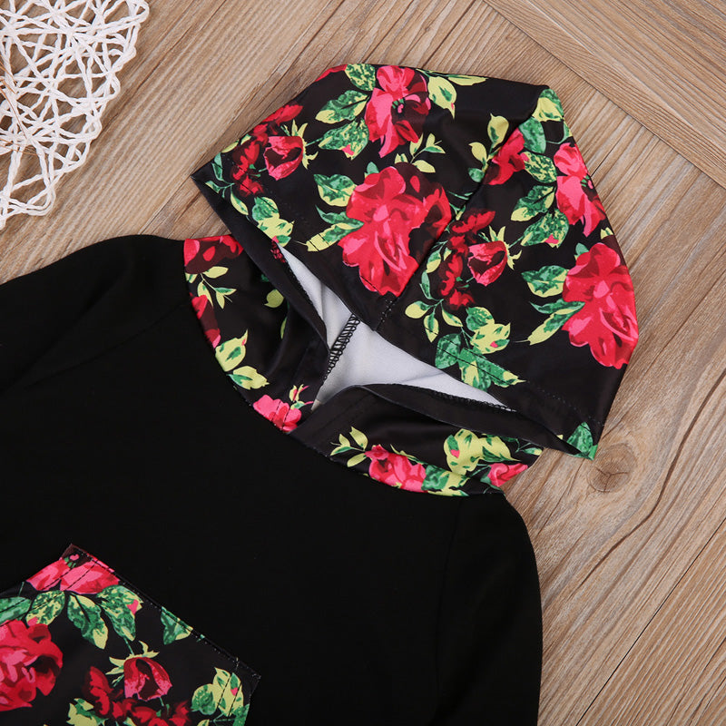 Blooming Midnight Roses Hoodie and Long Pants Set - Clothing Sets - baby-petite