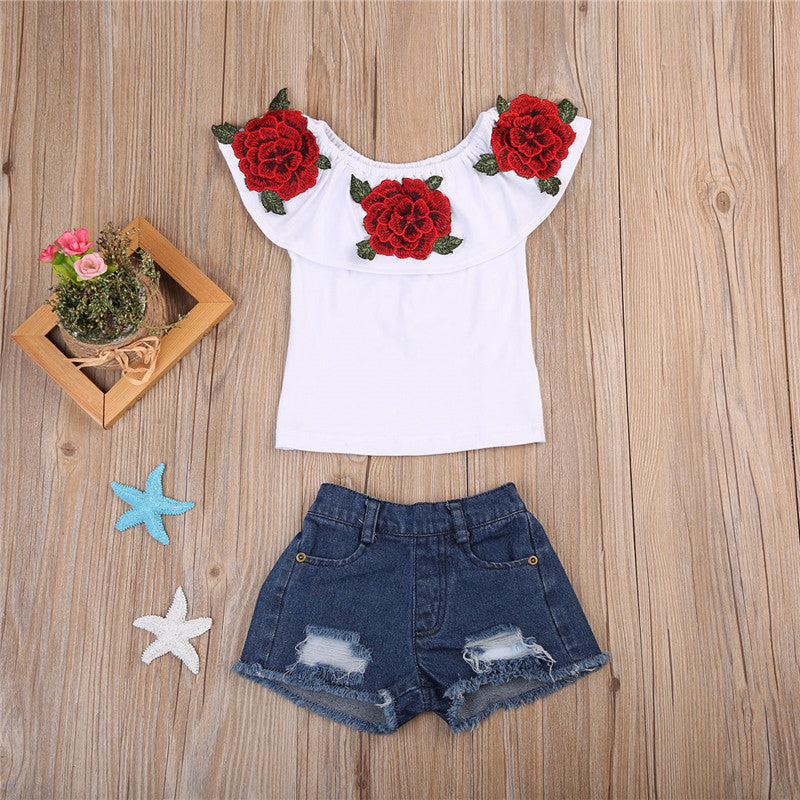 White Ruffle Rose Top and Denim Shorts Set - Clothing Sets - baby-petite
