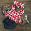 Plaid Ruffle Country Blouse and Denim Pants