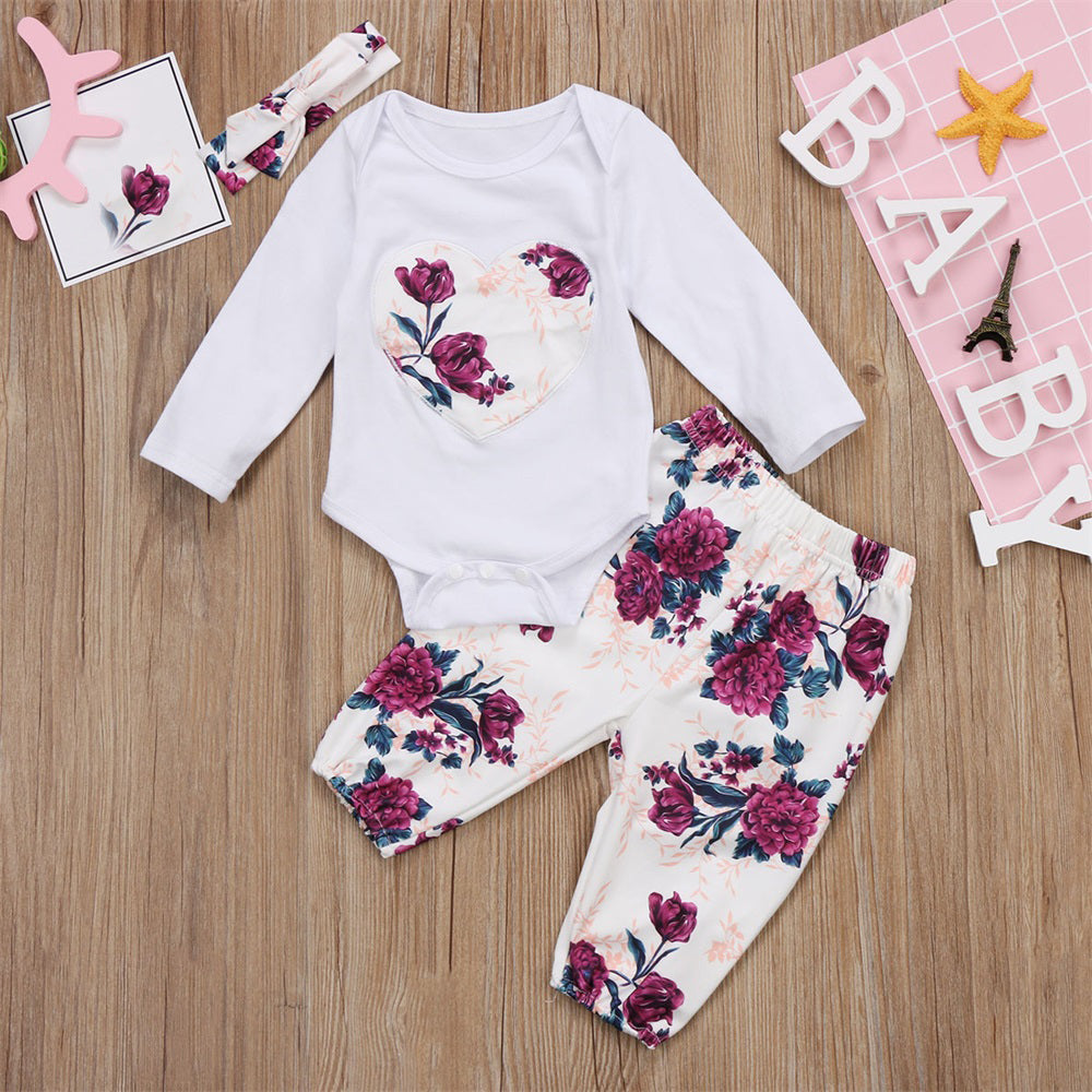 Pink Hibiscus Floral Clothing Set (3 Piece Set) - Clothing Sets - baby-petite
