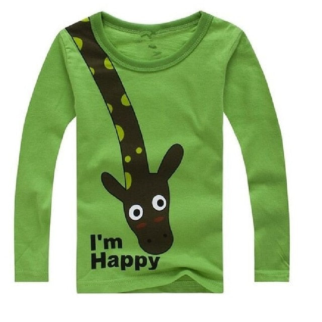 I'm Happy Giraffe Long Sleeve Cotton T-Shirt