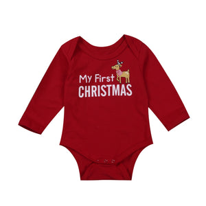 My First Christmas Reindeer Red Romper