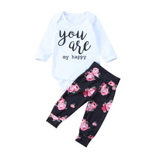 You Are My Happy Floral T-Shirt and Long Pants Set