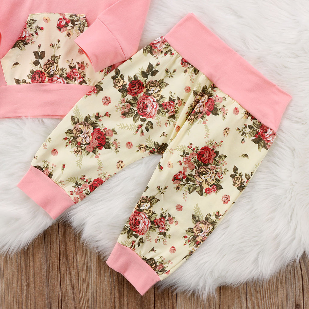 Pink Bouquet Floral Hoodie and Long Pants Set - Clothing Sets - baby-petite