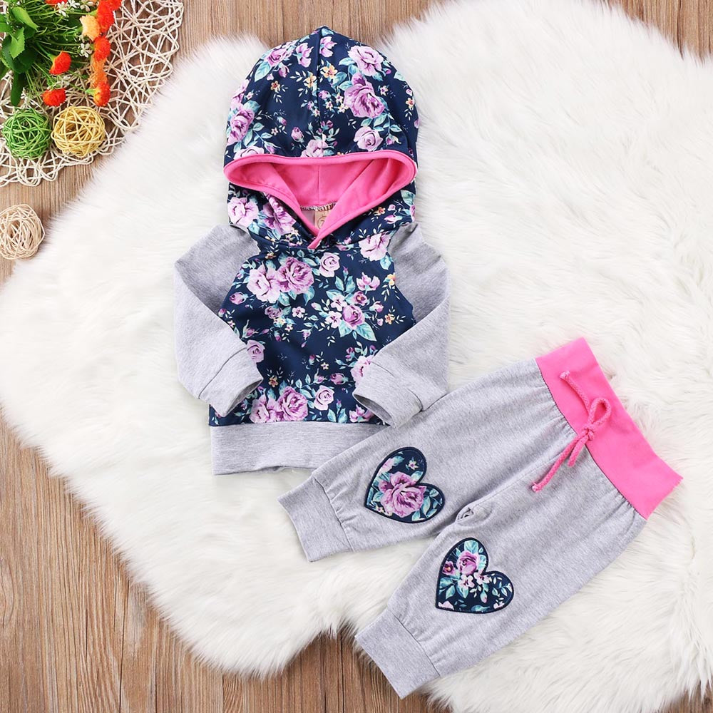 Floral Heart Galaxy Hoodie and Long Pants Set - Clothing Sets - baby-petite