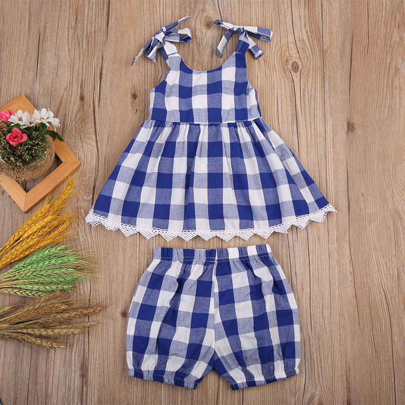 Blue Checkered Plaid Blouse and Short Pants Set - Clothing Sets - baby-petite