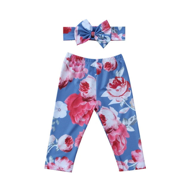 Graceful Classic Floral Leggings With Matching Headband