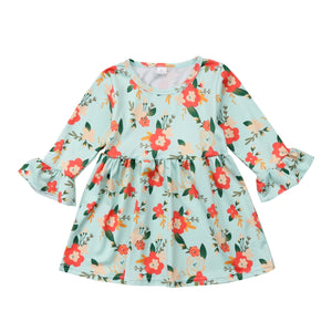 Princess Spring Floral Bell Sleeve Dress