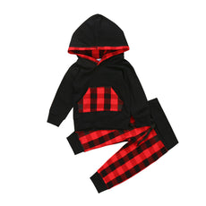 Red Checkered Plaid Hoodie and Long Pants Set