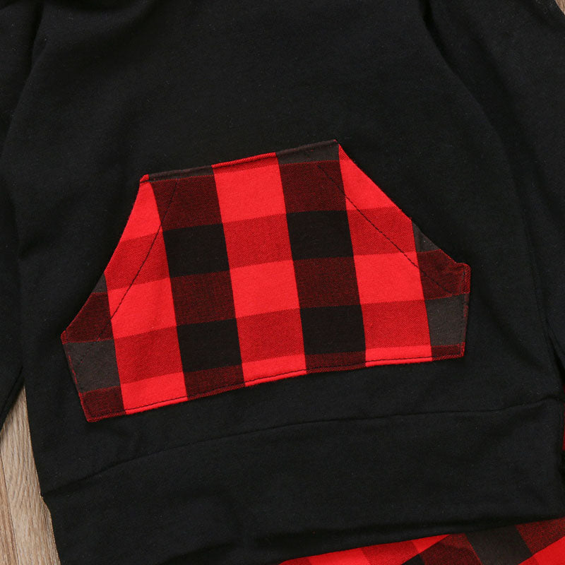 Red Checkered Plaid Hoodie and Long Pants Set - Clothing Sets - baby-petite