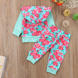 Aqua Floral Hoodie and Long Pants Set - Clothing Sets - baby-petite