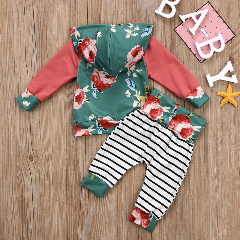 Striped Apple Green Rose Hoodie and Long Pants Set - Clothing Sets - baby-petite