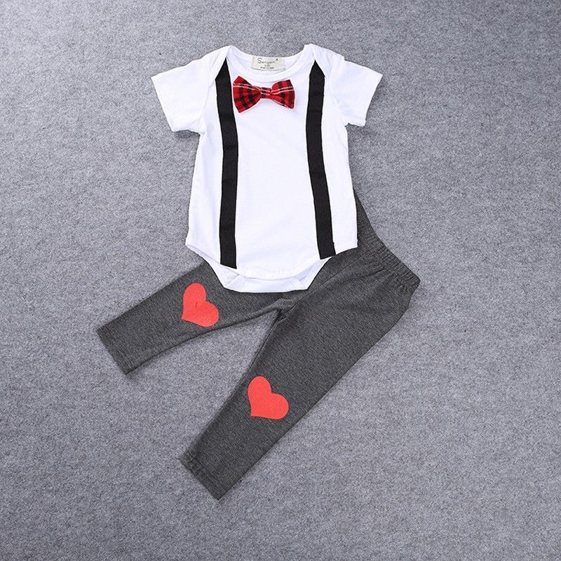 Baby Gentleman Heart Romper and Long Pants Set - Clothing Sets - baby-petite