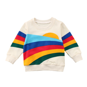 Retro Rainbow Casual Warm Sweater