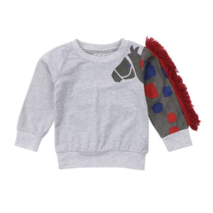 Trojan Fluffy Horse Grey Sweater