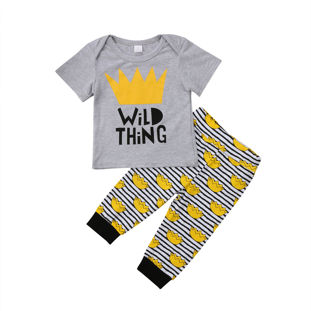 Wild Thing Crown T-Shirt and Long Pants Set - Clothing Sets - baby-petite