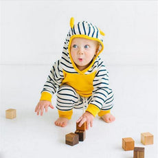 Striped Yellow Bear Hoodie and Long Pants Set