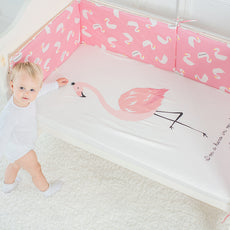 Pink Flamingo Hero Baby Bed Sheet
