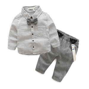 Grey Gentleman Suit, Pants and Suspenders Set - Clothing Sets - baby-petite