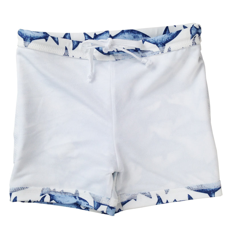 Shark Printed Swimming Trunks With Matching Hat