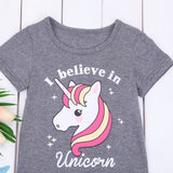I Believe In Unicorn Statement Print T-Shirt - Tops - baby-petite