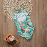 Crossed Back Summer Tropical With Flamingo Printed One Piece Swimsuit