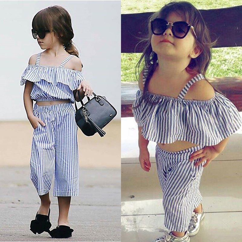 Striped Cold Shoulder Top and Bottom Outfit Set - Clothing Sets - baby-petite